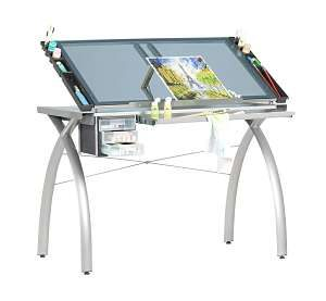 Glass Futura Craft Station Drafting Table