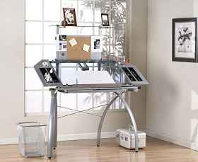 Glass Futura Tower Drafting Table