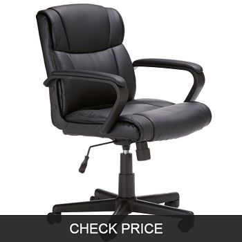 AmazonBasics Classic Leather Mid-Back Office Chair
