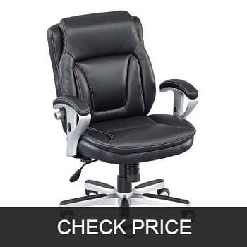 Black Faux Leather Petite Low Height Computer Chair