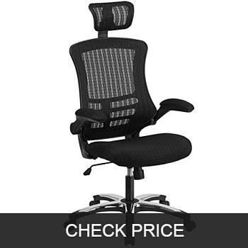 High Back Black Mesh Office Chair with Flip-Up Arms
