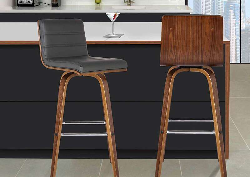 Armen Living Vienna Leather and Walnut Wood Finish Barstool