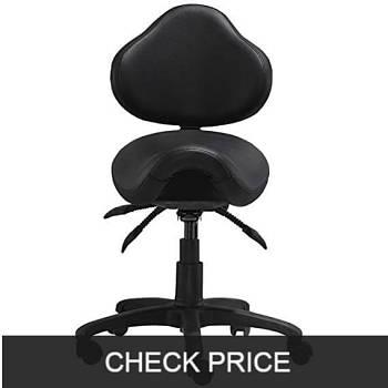 2xhome - Ergonomic Adjustable Rolling Saddle Stool Chair