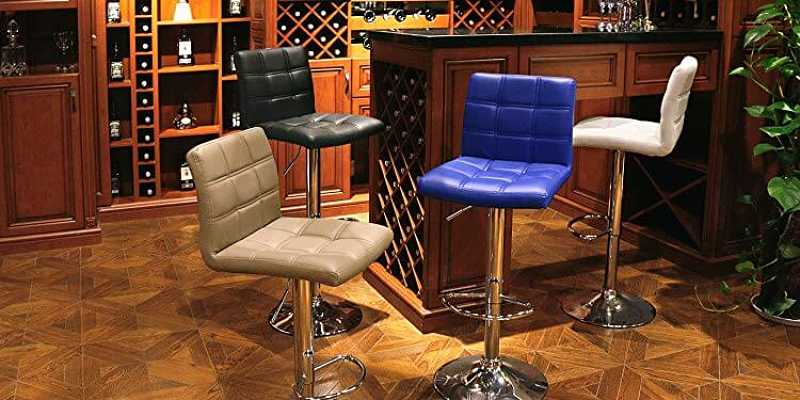 Modern Square PU Leather Adjustable Bar Stools with Back